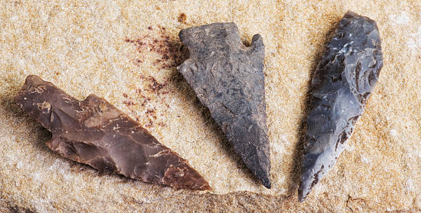 Real American Indian Arrowheads. Real Indian arrowheads found in Dripping Springs,Texas. archaeology stock pictures, royalty-free photos & images