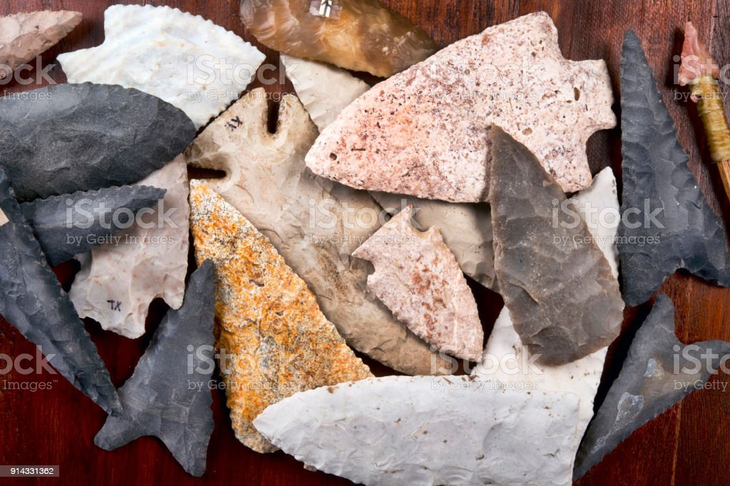 Real American Indian Arrowheads Stock Photo - Download Image