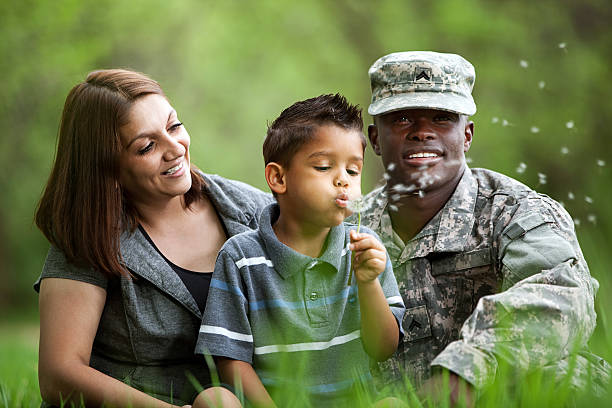 Real American Military Family stock photo
