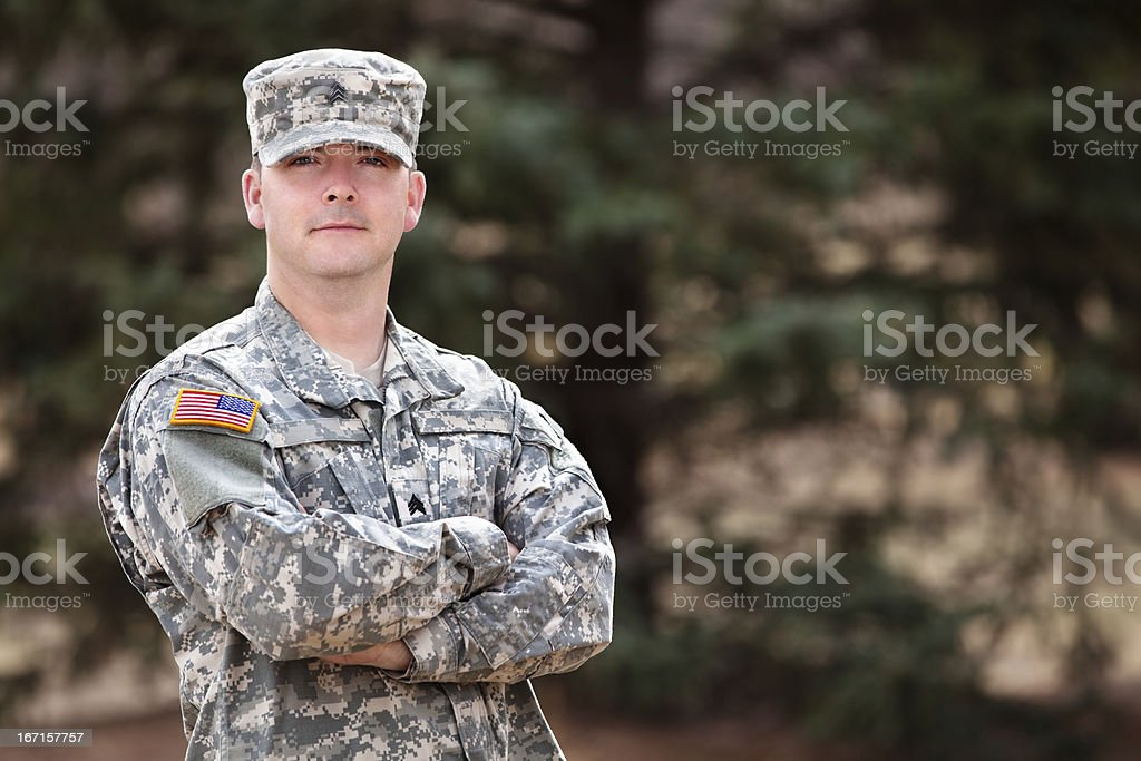 Real American soldier in army combat uniform or ACU royalty-free stock photo
