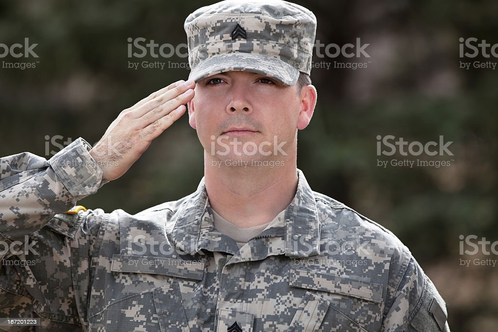 Real American soldier in army combat uniform or ACU stock photo