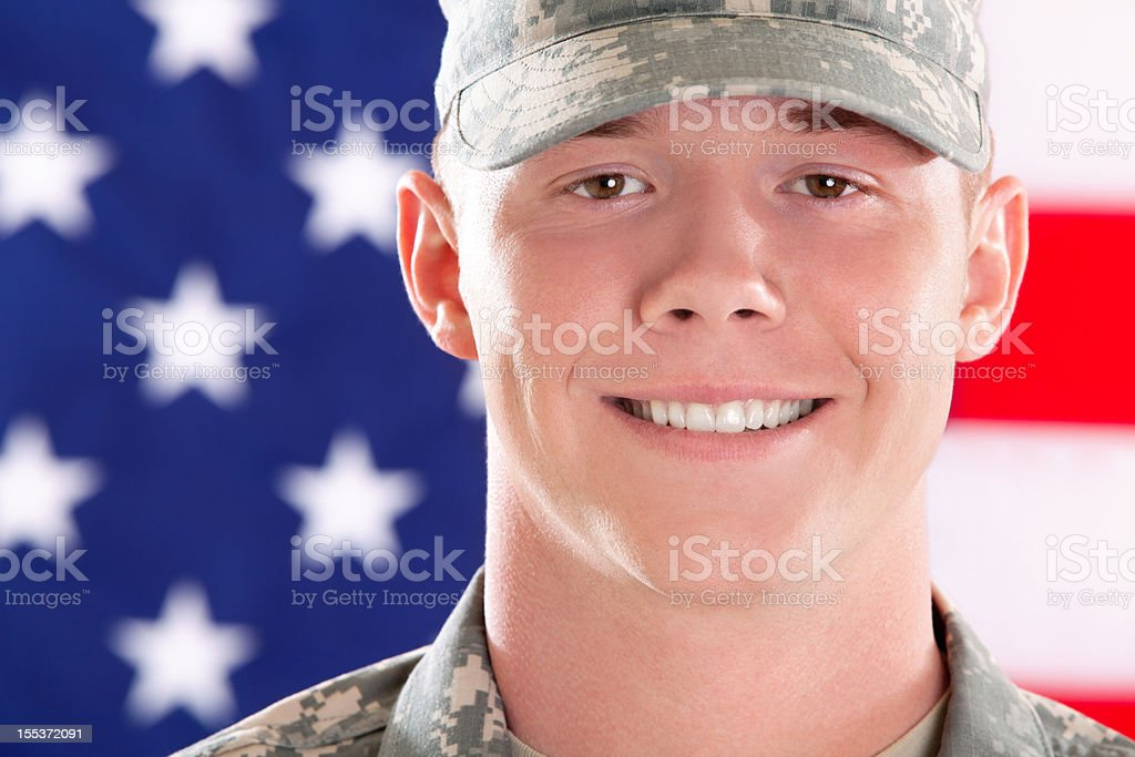 Real American soldier smiling royalty-free stock photo