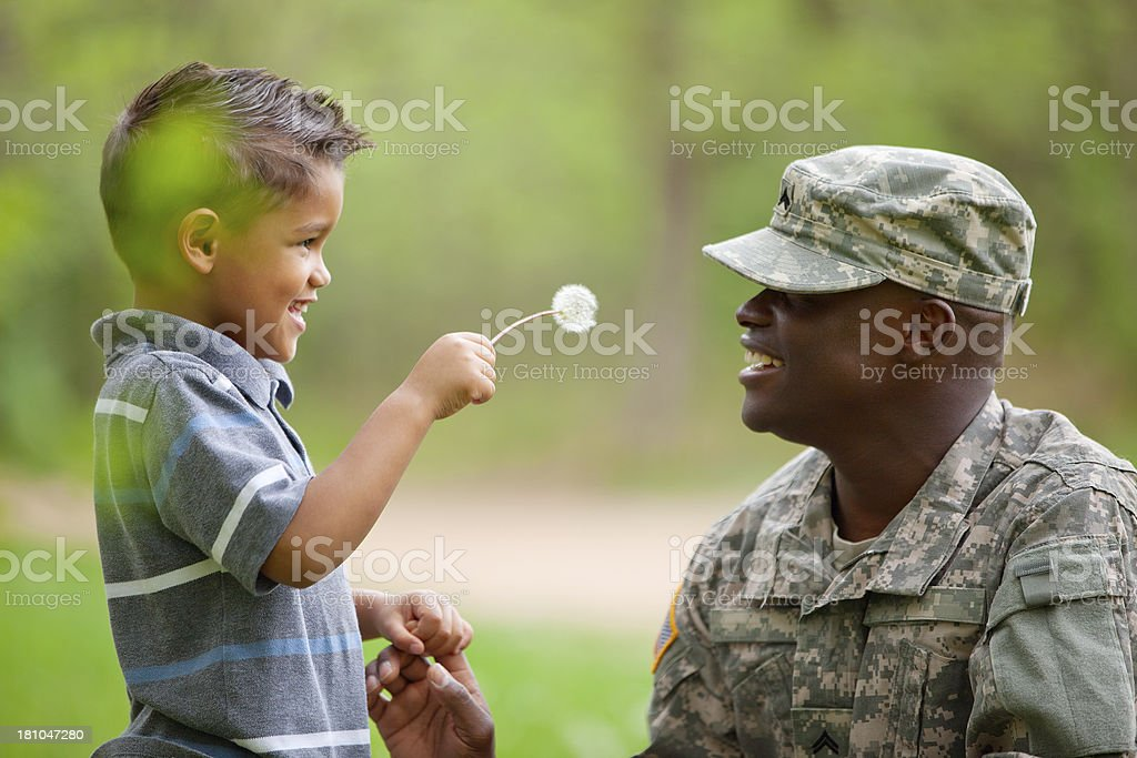 Real American Soldier & Son Outdoor stock photo