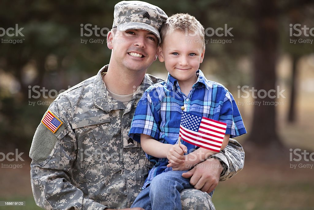 Real American Soldier & Son Smiling Outdoor stock photo