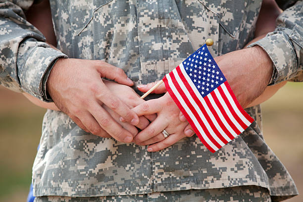 Real American Soldier & Wife Outdoor stock photo