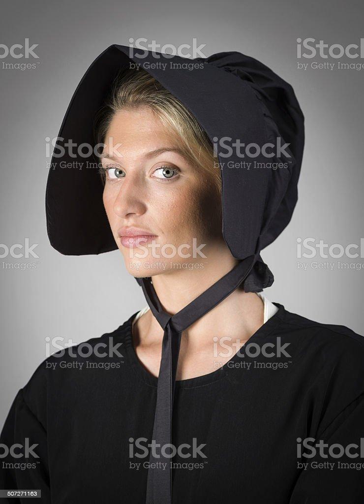 Real Amish Mennonite Young Woman stock photo