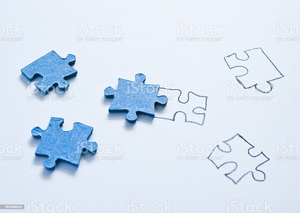 Real And Drawn Pieces Of Jigsaw Puzzle royalty-free stock photo