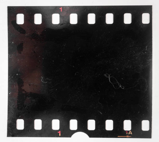 Real and original 35mm or 135 film material on white background, 35mm filmstrip real 35mm film material film negative stock pictures, royalty-free photos & images