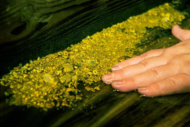 echte au nuggets aus naturgold auf dem desktop in der werkstatt - nägel glitzer stock-fotos und bilder