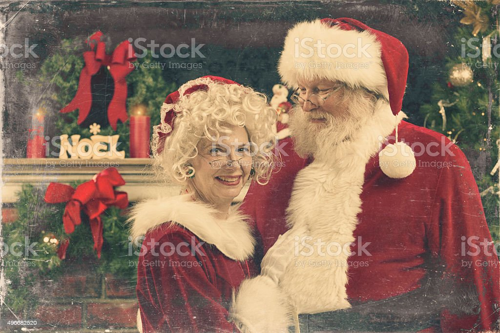 Real Authentic Christmas Photo Of Santa And Ms Claus Stock Photo