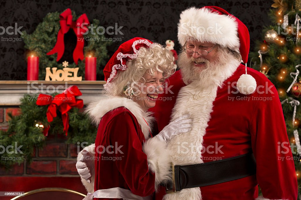 Real authentic Christmas photo of Santa and Ms Claus. stock photo