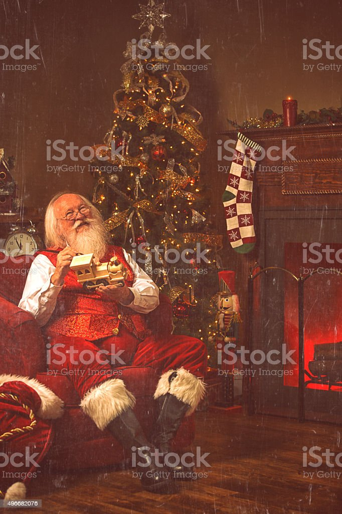 Real authentic Christmas photo of Santa Claus stock photo