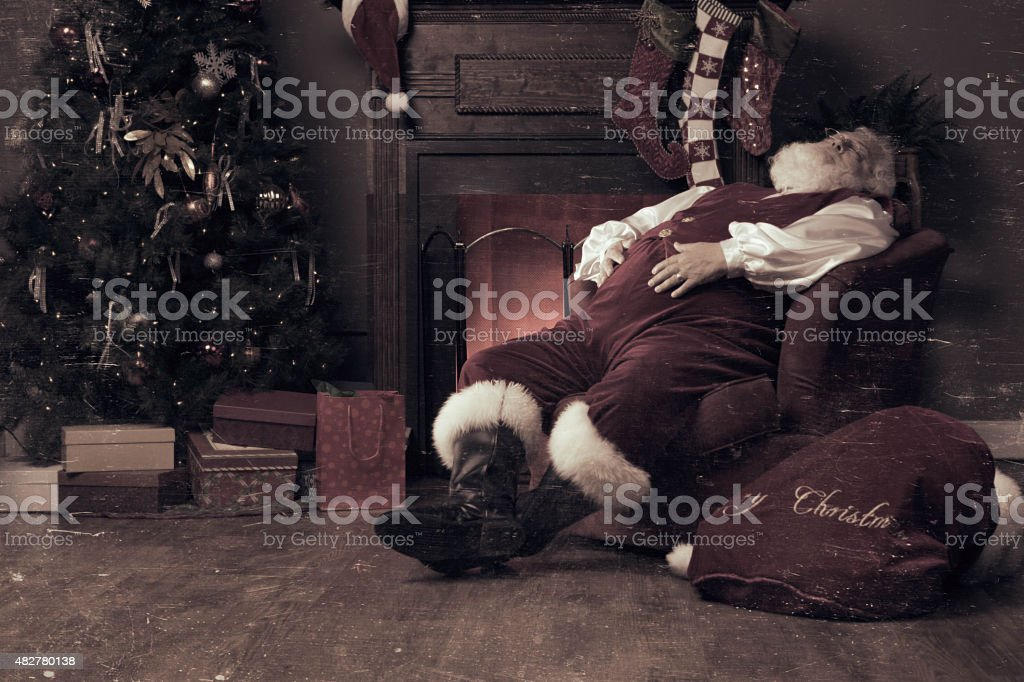 Real authentic photo of Santa Claus asleep. stock photo