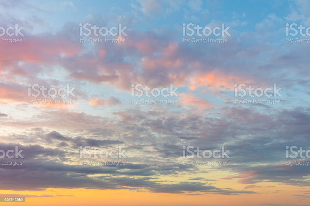 Real background of majestic sunrise sky stock photo