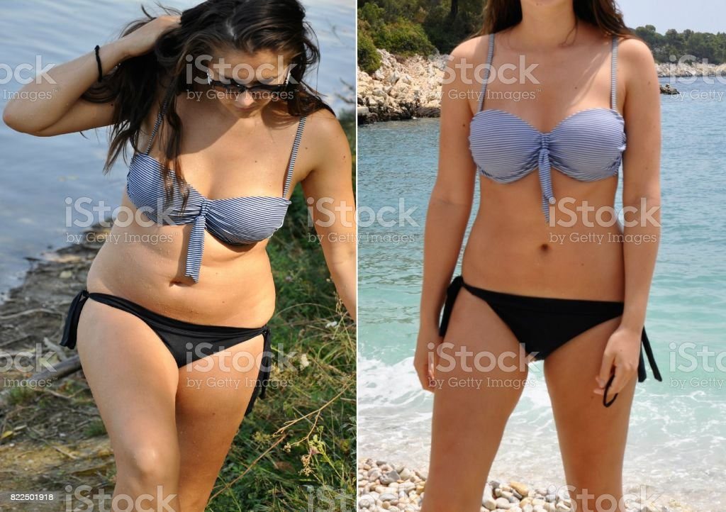 Real before and after weight loss photo stock photo