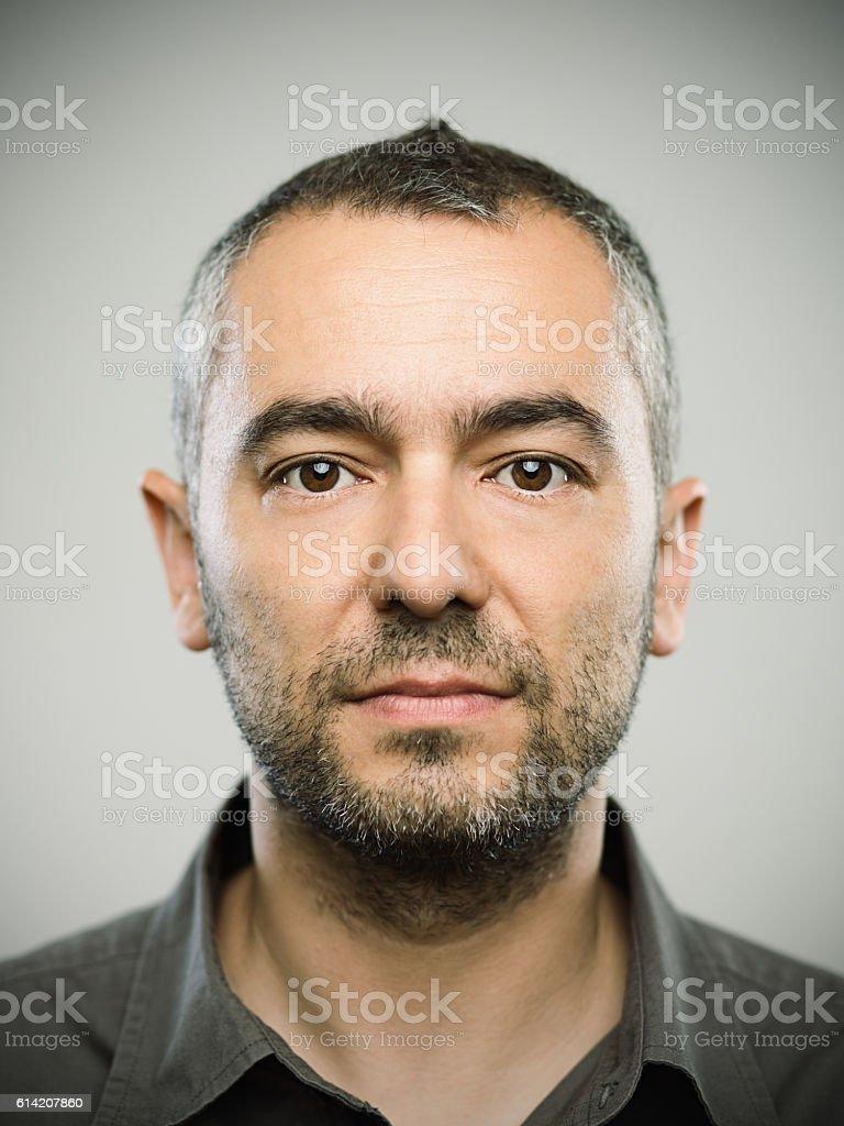 Real caucasian adult man portrait stock photo