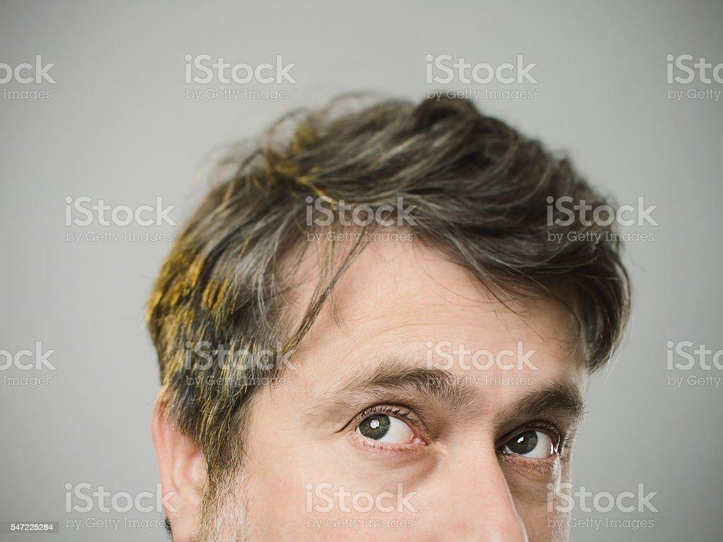 Real caucasian mature adult man portrait stock photo