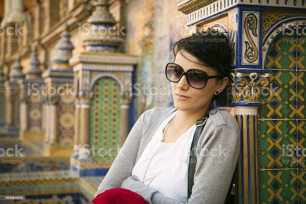 Real Caucasian Woman is sitting in Seville . royalty-free stock photo