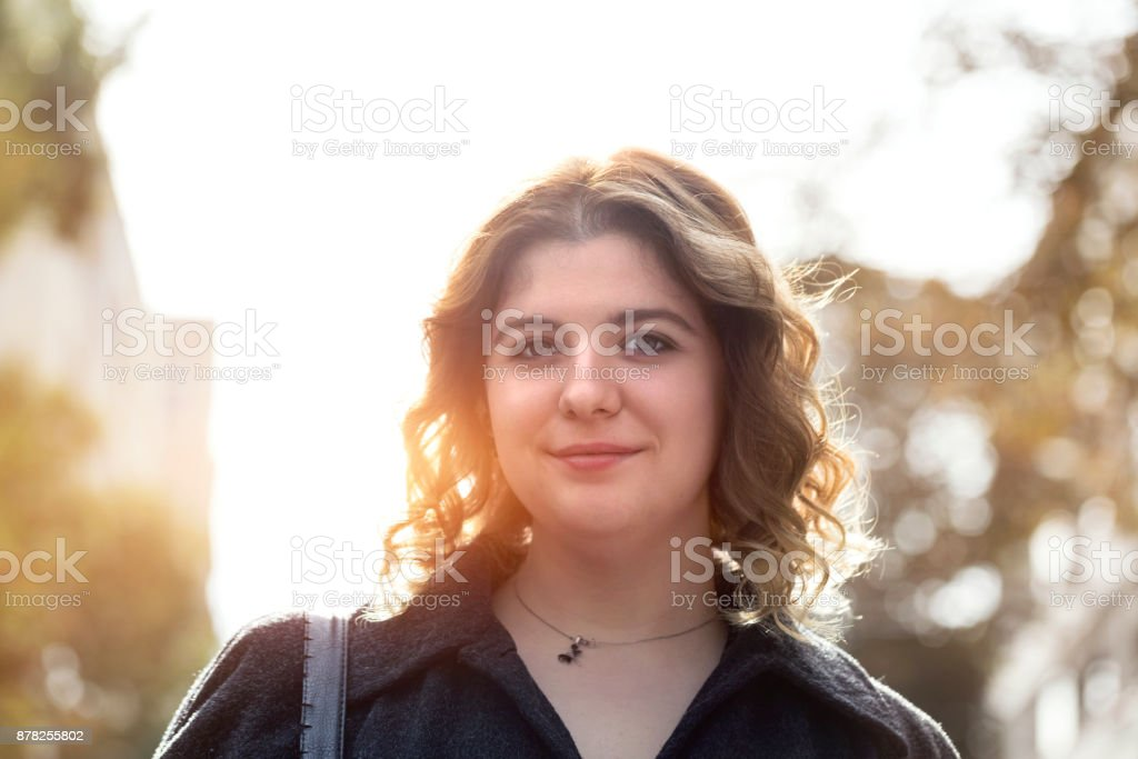 Real caucasian young woman portrait stock photo