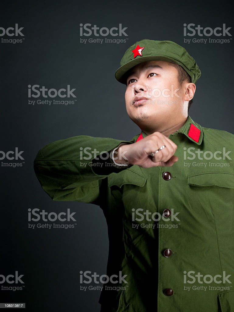 Real chinese soldier royalty-free stock photo