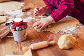 Real christmas bakery - Child is making christmas cookies