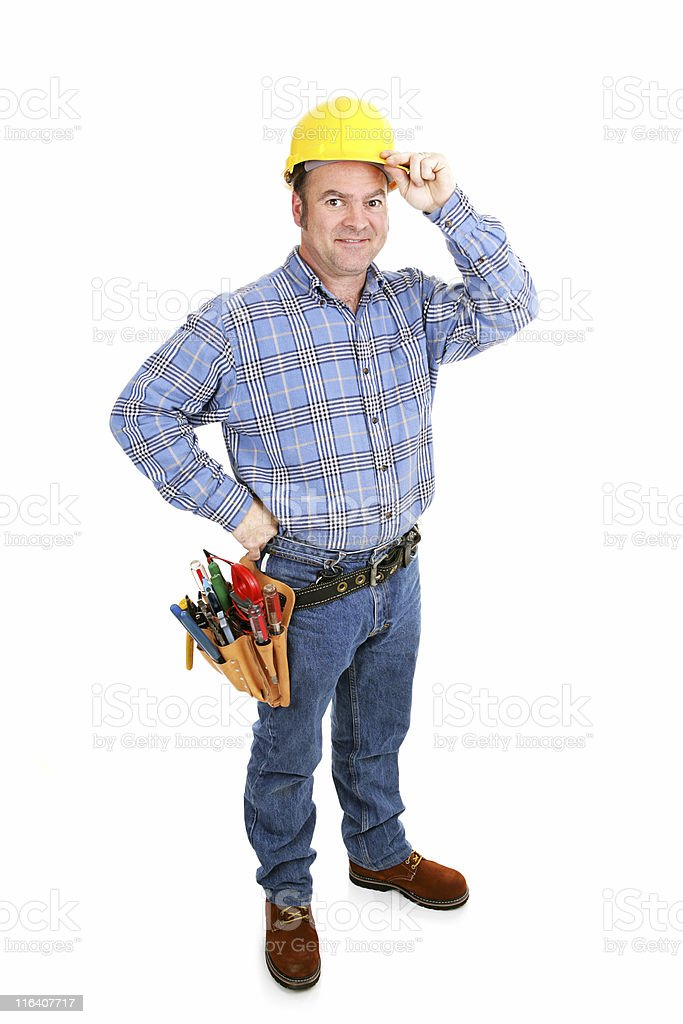Real Construction Worker - Tips Hat royalty-free stock photo