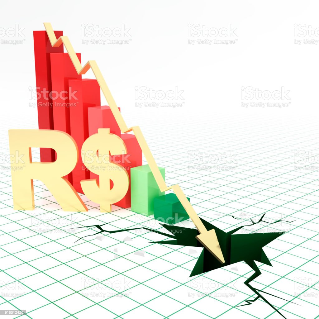 Real Currency Symbol Bar Graph Going Down Stock Photo More