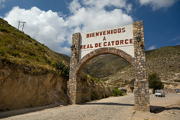 Real de Catorce welcome sign stock photo