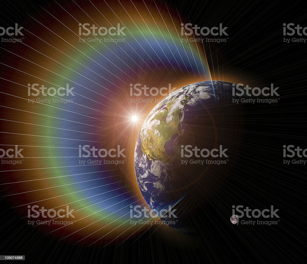 Real Earth Planet in interference sun. stock photo