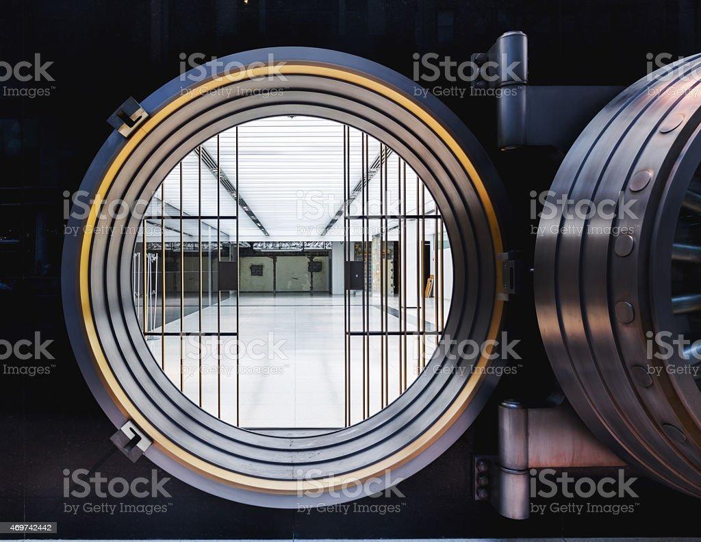 Real Empty Bank Vault Door stock photo
