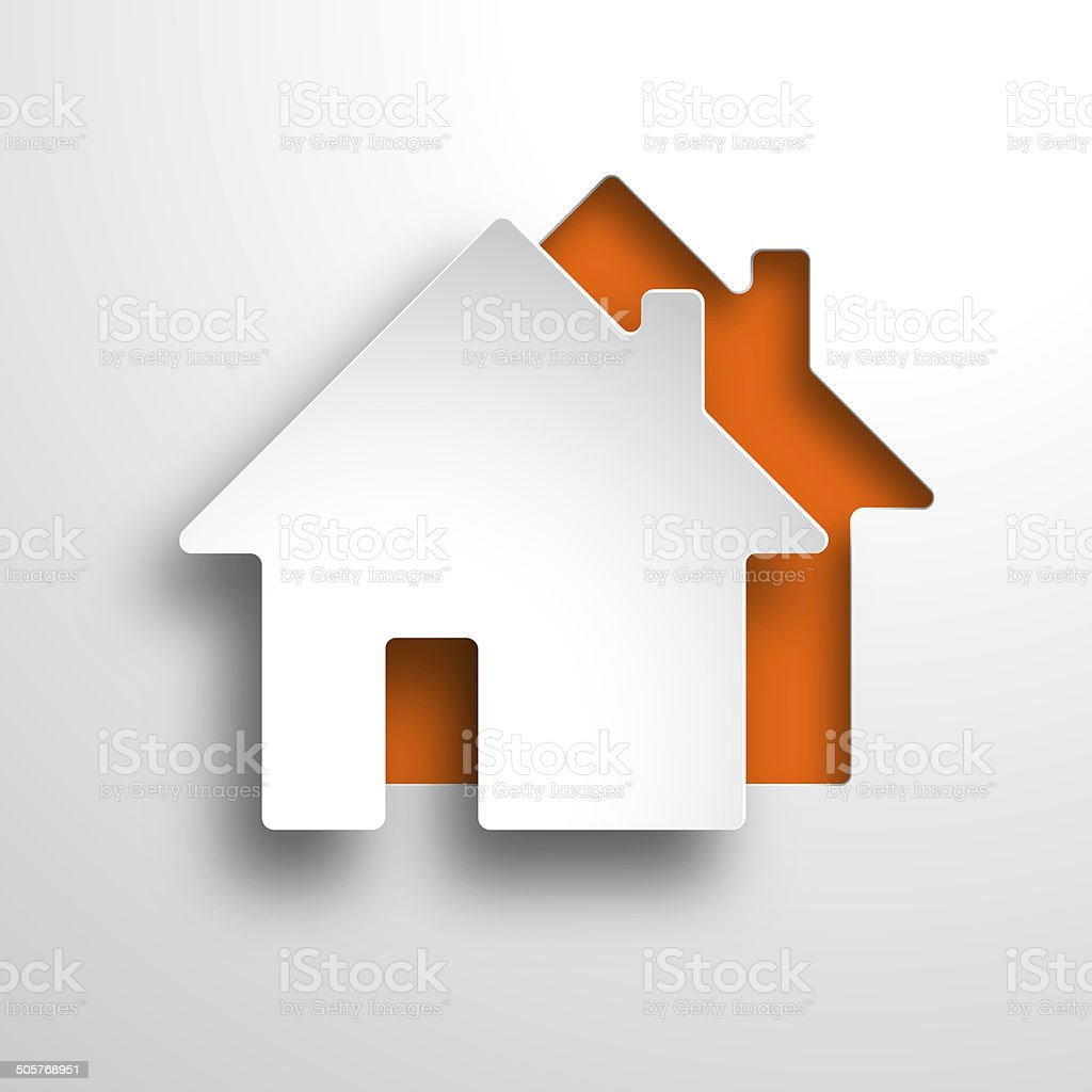 real estate 3d orange background stock photo