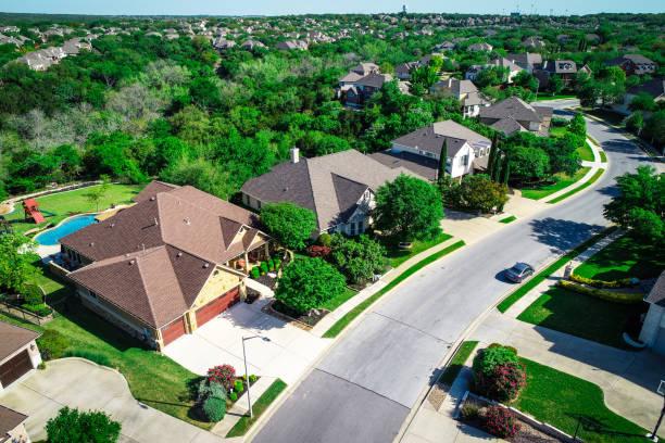 Real Estate above Austin housing suburbs stock photo