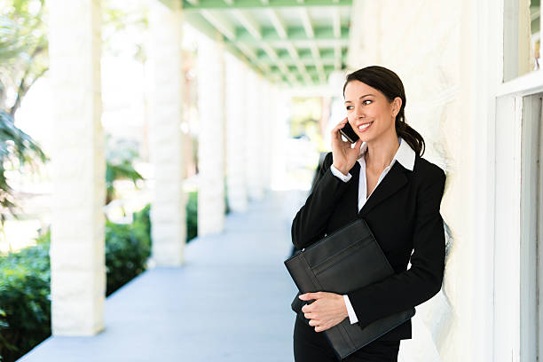 Real Estate Agent on Phone stock photo