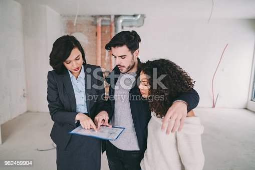 Couple with real estate agent visiting property for viewing