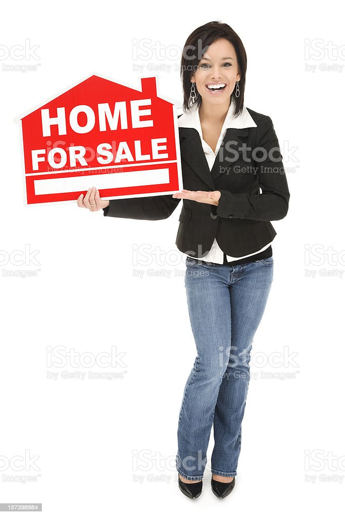 Real Estate Agent with 'Home For Sale' Sign royalty-free stock photo