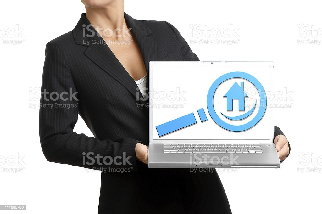 Real Estate Agent with Laptop Computer Isolated on White Background royalty-free stock photo