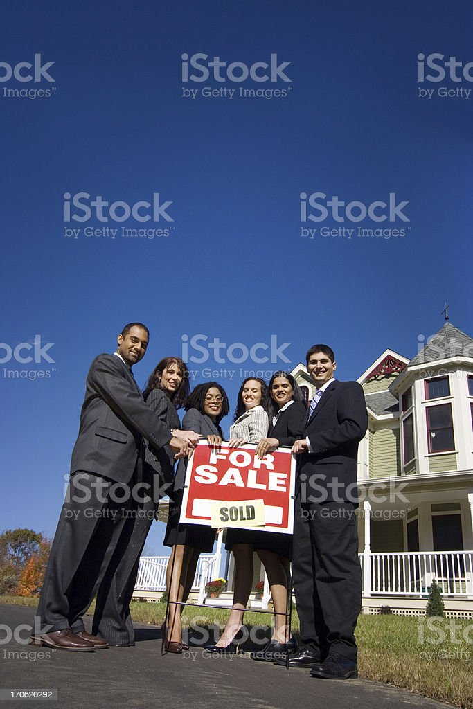 Real estate agents (wide angle) royalty-free stock photo