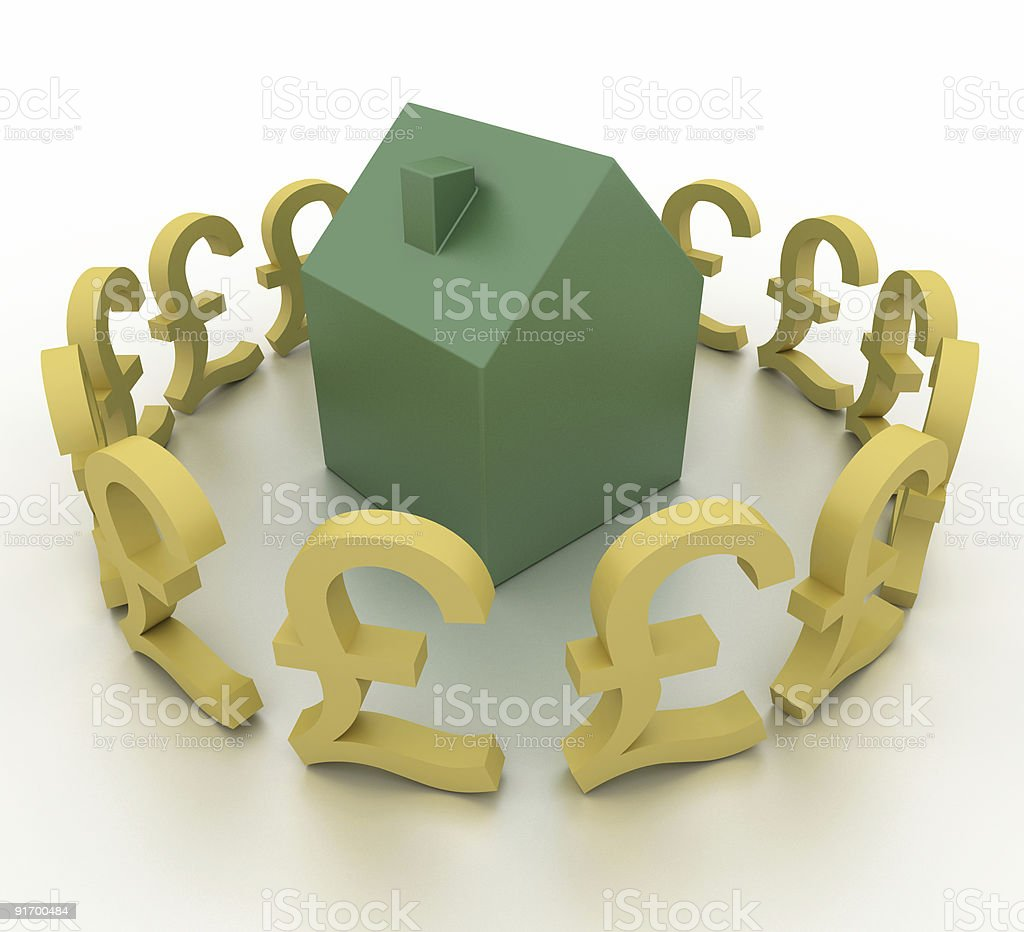 Real Estate and British Pound (isolated on white) royalty-free stock photo