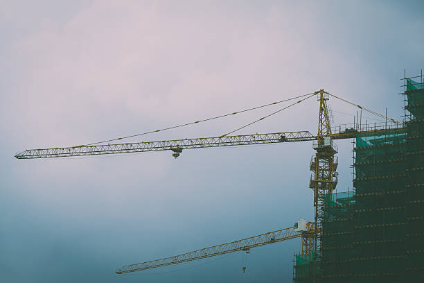 Real estate bubble-depressed construciont site stock photo