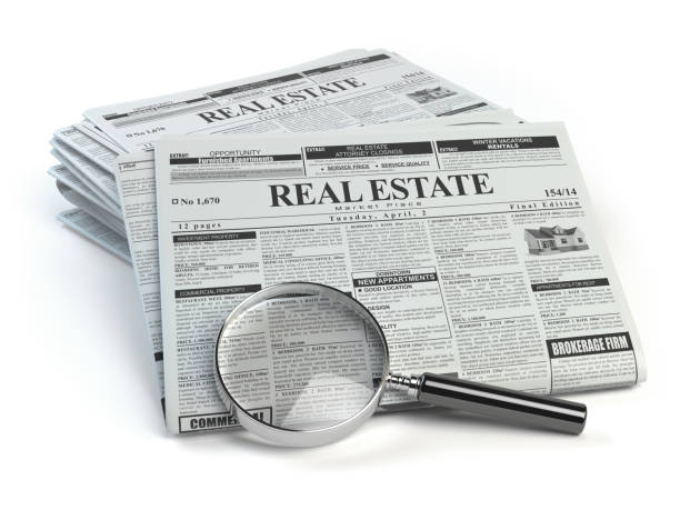 Real estate classifieds ads newspaper  and magnifying glass Real estate classifieds ads newspaper  and magnifying glass isolated on white. 3d illustration  real estate sign stock pictures, royalty-free photos & images