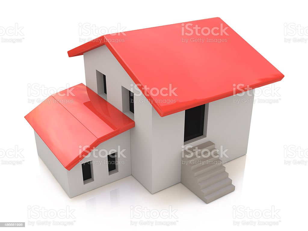 Real Estate Concept. 3d house on a white background stock photo
