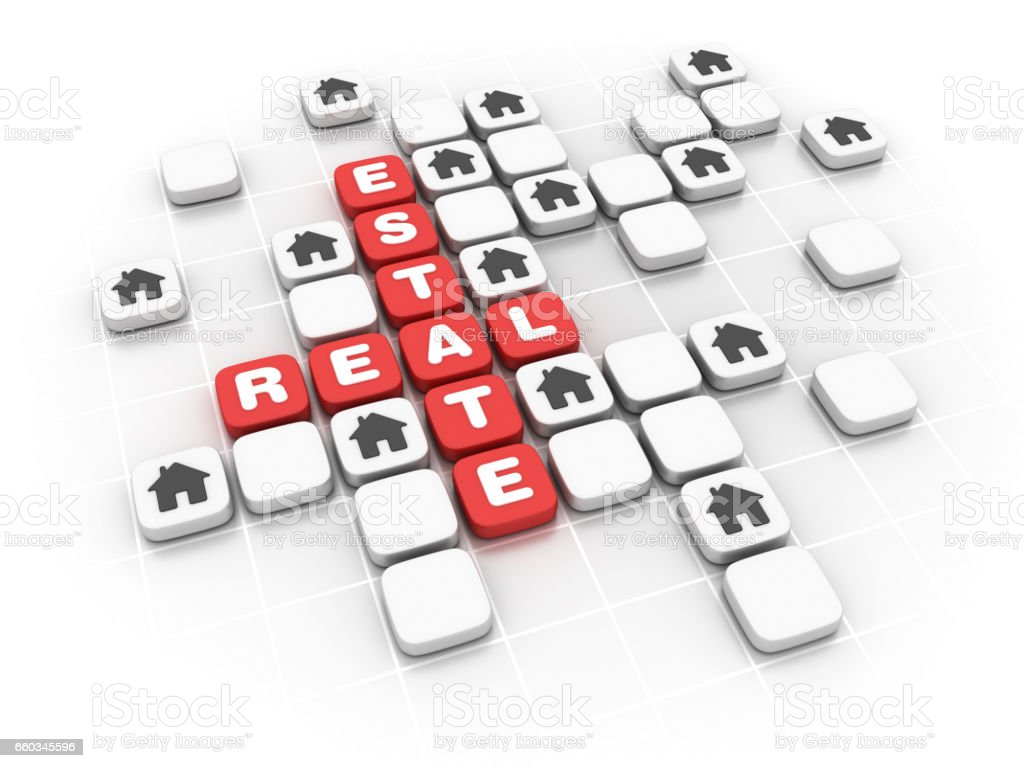 Real Estate Concept Crossword - 3D Rendering Real Estate Concept Crossword  - White Background - 3D Rendering Alphabet Stock Photo