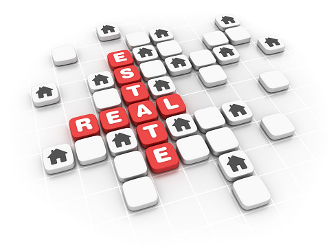 Real Estate Concept Crossword 3d Rendering Stock Photo - Download Image Now