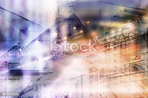 885968454istockphoto Real estate concept, double expo blueprint and keys 877072242