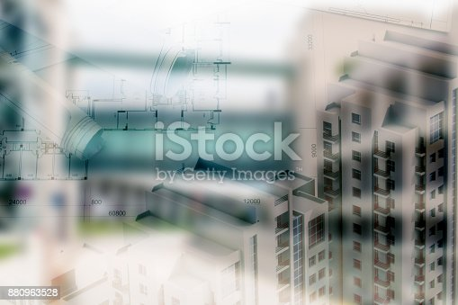 626187670istockphoto Real estate concept, double expo blueprint and keys 880963528