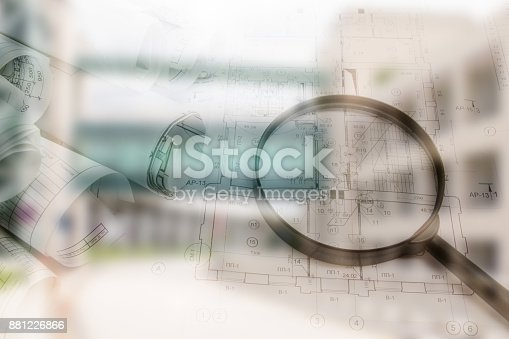 626187670istockphoto Real estate concept, double expo blueprint and keys 881226866