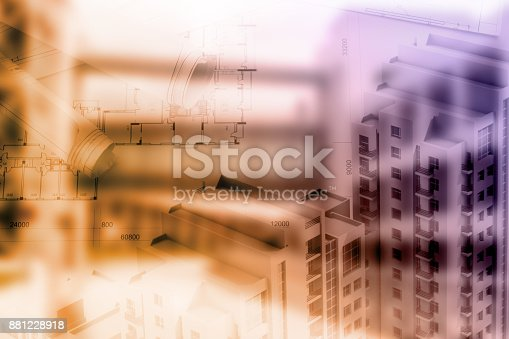 885968454istockphoto Real estate concept, double expo blueprint and keys 881228918