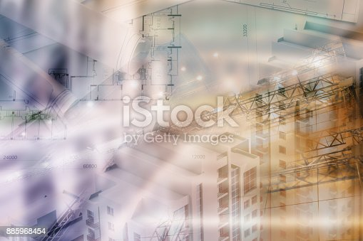 istock Real estate concept, double expo blueprint and keys 885968454