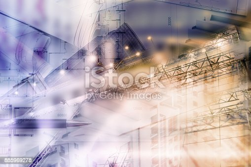 626187670istockphoto Real estate concept, double expo blueprint and keys 885969278