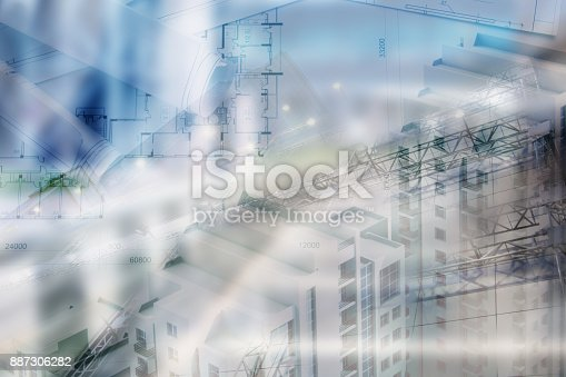 885968454istockphoto Real estate concept, double expo blueprint and keys 887306282
